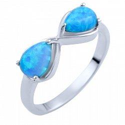 Серебряное кольцо Бесконечность с опалами