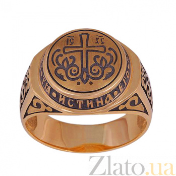 Золотое кольцо-печатка Истинная вера HUF--80720-Ч