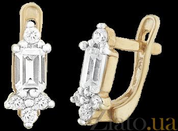 Позолоченные серьги из серебра с фианитами Royal SLX--С3Ф/015