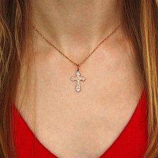 Золотой крестик Да воскреснет Бог с молитвой в красном цвете