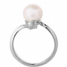 Кольцо из белого золота с жемчугом Анелия