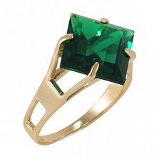 Золотое кольцо Величие принцессы с синтезированным изумрудом
