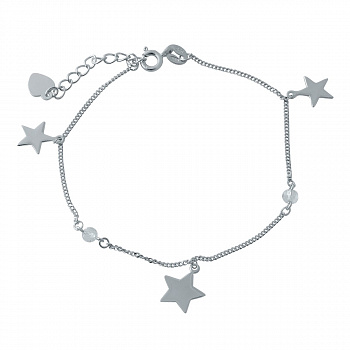 Серебряный браслет Звездный танец с подвесками в форме звезд и фианитами