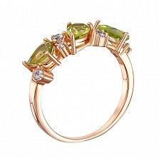 Кольцо в красном золоте Линда с хризолитами и фианитами