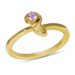 Золотое кольцо Корра в желтом цвете с синтезированным аметистом