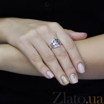 Серебряное кольцо Хамса с узорами и белым цирконием 000095895