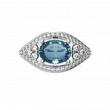 Серебряное кольцо Лавина с лондон топазом и фианитами