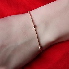 Золотой браслет Магия бусин в красном цвете