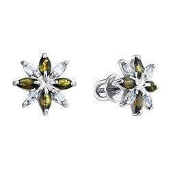 Серебряные серьги-пуссеты с цитринами и фианитами 000100617