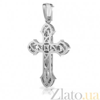 Золотой крестик в белом цвете Дороги вселенной с бриллиантами VLA--37089