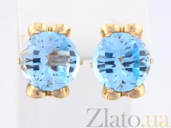 Золотые серьги с голубыми топазами Самида VLN--113-1200-1