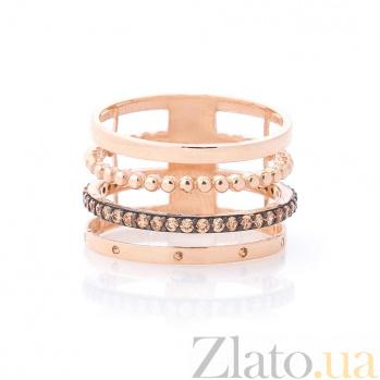 Золотое кольцо Тореа с фантазийной шинкой и цирконием 000082423