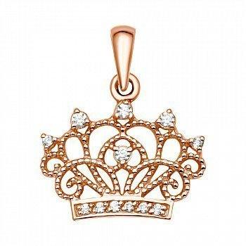 Кулон-корона із червоного золота з фіанітами 000060626