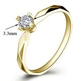 Помолвочное кольцо из желтого золота Моя принцесса с бриллиантом 3,3мм