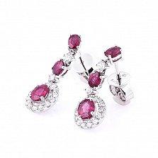 Золотые серьги Антуанетта с рубинами и бриллиантами