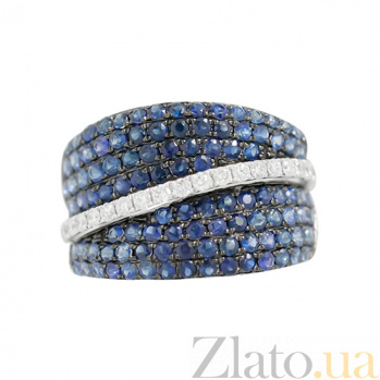 Золотое кольцо с сапфирами и бриллиантами Мост через реку 000026827