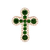 Золотой крестик Элронд с изумурдами и бриллиантами