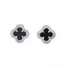 Серебряные сережки Альдена с ониксом и кристаллами циркония в стиле Ван Клиф