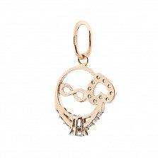 Золотая подвеска-кольцо Ариа с сердцем, символом бесконечности и фианитами