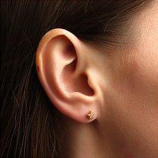 Серьга-гвоздик в одно ухо Звезда из красного золота