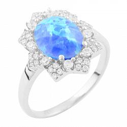 Серебряное кольцо  с голубым опалом и фианитами 000074008