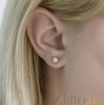 Серьги-пуссеты Ильда из белого золота с бриллиантами 000096791