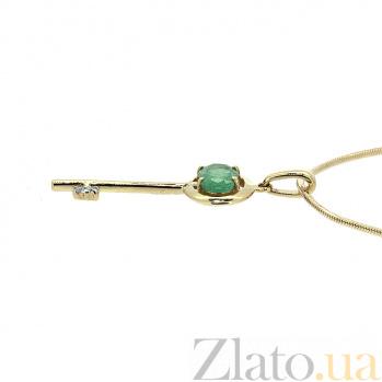 Золотой подвес с изумрудом и бриллиантом Ключик от сердца ZMX--PE-6710_K