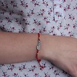 Шелковый браслет Таня с вырезной серебряной вставкой