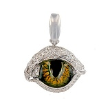 Кулон из белого золота Кошачий глаз