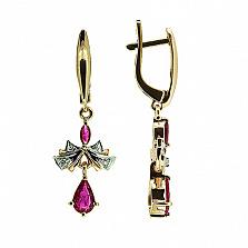 Золотые серьги с бриллиантами и рубинами Мишель