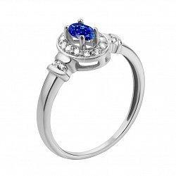 Серебряное кольцо с синтезированным сапфиром и фианитами 000133398