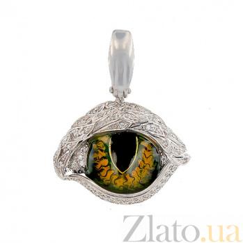 Кулон из белого золота Кошачий глаз VLT--ТТ3569-0