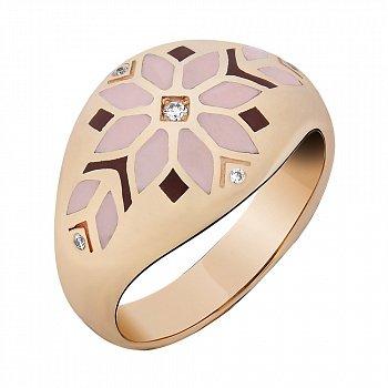Кольцо в желтом золоте с бриллиантами и эмалью 000073441
