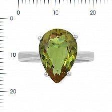 Серебряное кольцо Нонна с зеленым корундом