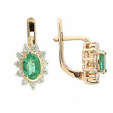 Золотые серьги с бриллиантами и изумрудами Малинка