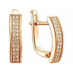 Золотые серьги Лукреция в красном цвете с дорожками бриллиантов