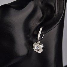 Серебряные серьги-подвески Новелла с фианитами и подвижным центральным камнем