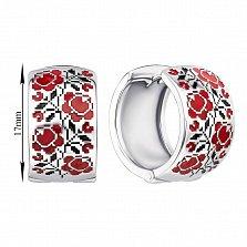 Серебряные серьги-конго с красной и черной эмалью 000133739