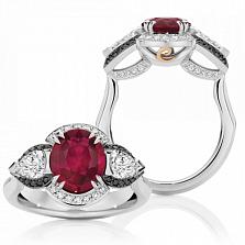 Кольцо Argile-Z с рубином, белыми и черными бриллиантами