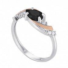 Серебряное кольцо Маргарет с вставкой золота и фианитами