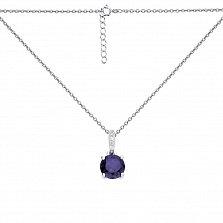 Серебряное колье Юки в якорном плетении с фиолетовым аметистом и белыми фианитами