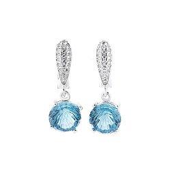 Серебряные серьги-подвески Лидия с голубым и белыми фианитами