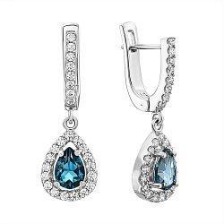 Серебряные серьги-подвески с топазами лондон и фианитами 000137585