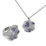 Золотое кольцо с бриллиантами и сапфирами Снежинка