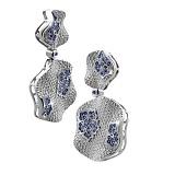 Золотые серьги с бриллиантами и сапфирами Снежинка