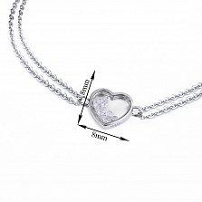 Серебряный двойной браслет Сердце малое с плавающими белыми фианитами в стиле Шопар, 8x8мм