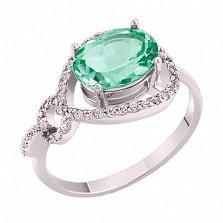 Кольцо в белом золоте Диана с зеленым кварцем и фианитами