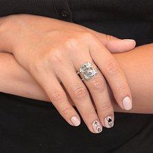 Серебряное ажурное кольцо Стрекозы с голубыми опалами