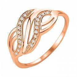 Кольцо из красного золота с фианитами 000103781