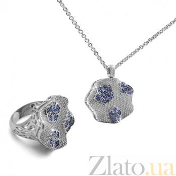 Золотое кольцо с бриллиантами и сапфирами Снежинка KBL--К1783/бел/сапф